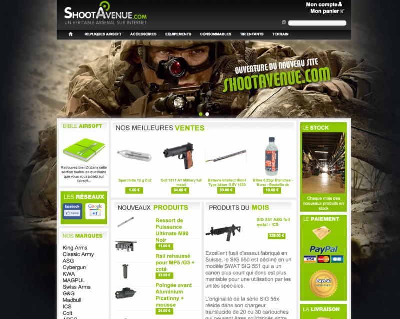 nouveau site de vente en ligne shootavenue france airsoft. Black Bedroom Furniture Sets. Home Design Ideas